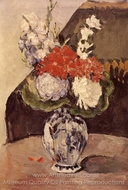 Flowers in a Small Deflt Vase painting reproduction, Paul Cézanne