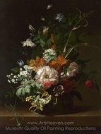Flowers in a Vase painting reproduction, Rachel Ruysch