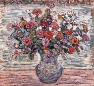 Flowers in a Vase (Zinnias) painting reproduction, Maurice Prendergast