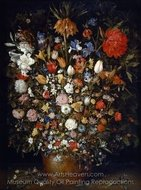 Flowers in a Wooden Vessel painting reproduction, Jan Brueghel