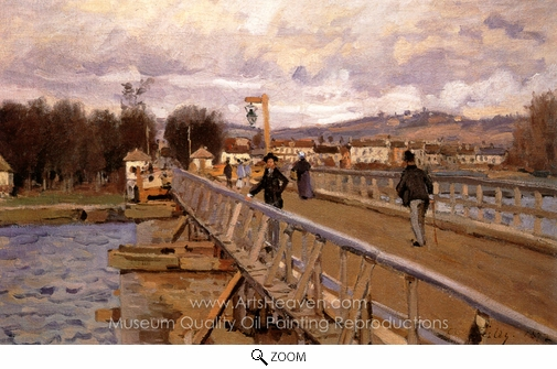 Alfred Sisley, Footbridge at Argenteuil oil painting reproduction
