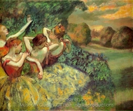 Four Dancers painting reproduction, Edgar Degas