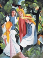 Four Girls painting reproduction, August Macke