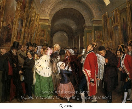 Francois Auguste Biard, Four O'Clock: Closing Time at the Louvre oil painting reproduction