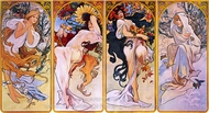 Four Panels of the Four Seasons painting reproduction, Alfonse Mucha