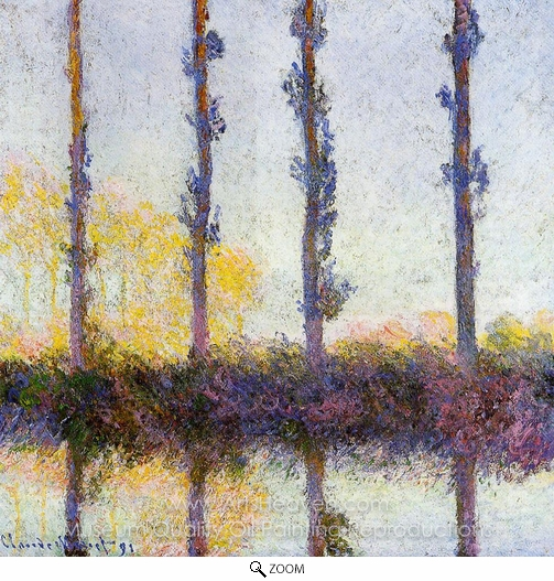 Claude Monet, Four Poplar Trees oil painting reproduction
