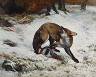 Fox Caught in a Trap painting reproduction, Gustave Courbet