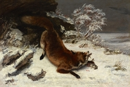 Fox in the Snow painting reproduction, Gustave Courbet