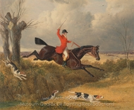 Foxhunting, Clearing a Ditch painting reproduction, John Frederick Herring Sr.