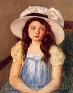 Francoise Wearing a Big White Hat painting reproduction, Mary Cassatt