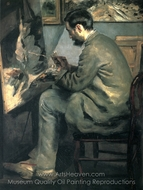 Frederic Bazille Painting at His Easel painting reproduction, Pierre-Auguste Renoir