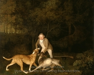Freeman, the Earl of Clarendon's Gamekeeper, with a Dying Doe and Hound painting reproduction, George Stubbs