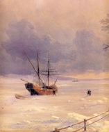 Frozen Bosphorus Under Snow (detail) painting reproduction, Ivan Aivazovskiy