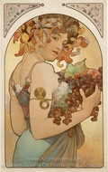 Fruit painting reproduction, Alfonse Mucha