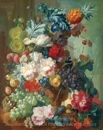 Fruit and Flowers in a Terracotta Vase painting reproduction, Jan Van Os