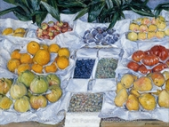 Fruit Displayed on a Stand painting reproduction, Gustave Caillebotte