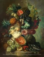 Fruit, Flowers and a Fish painting reproduction, Jan Van Os
