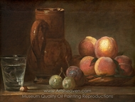Fruit, Jug, and a Glass painting reproduction, Jean Simeon Chardin