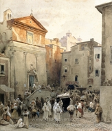 Funeral in Palestrina painting reproduction, Oswald Achenbach