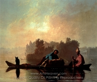 Fur Traders Descending the Missouri painting reproduction, George Caleb Bingham