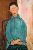 Garcon a la Veste Bleue painting reproduction, Amedeo Modigliani