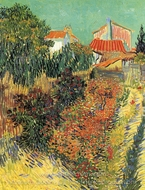Garden Behind a House painting reproduction, Vincent Van Gogh