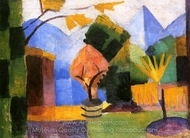 Garden Beside the Lake painting reproduction, August Macke