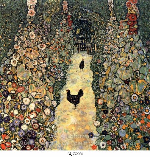 Gustav Klimt, Garden Path with Chickens oil painting reproduction