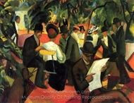 Garden Restaurant painting reproduction, August Macke