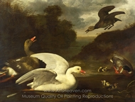 Geese and Ducks painting reproduction, Johannes Spruyt