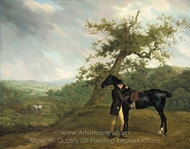 George Irving with his Black Hunter Beneath a Blasted Oak painting reproduction, Jacques Laurent Agasse