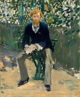 George Moore in the Artist's Garden painting reproduction, �douard Manet