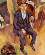 German Painter with Dog in the Studio painting reproduction, Jules Pascin