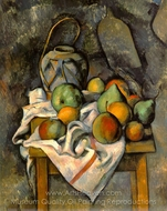 Ginger Jar and Fruit (Le vase paille) painting reproduction, Paul C�zanne