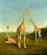 Giraffes with Impala in a Landscape painting reproduction, Jacques Laurent Agasse
