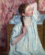 Girl Arranging Her Hair painting reproduction, Mary Cassatt