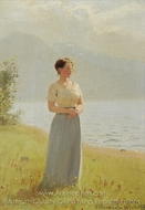 Girl Beside a Fjord painting reproduction, Hans Dahl