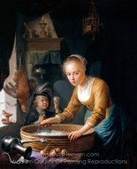 Girl Chopping Onions painting reproduction, Gerrit Dou