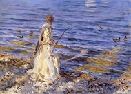 Girl Fishing painting reproduction, John Singer Sargent