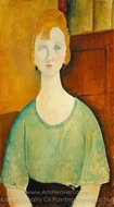 Girl in a Green Blouse painting reproduction, Amedeo Modigliani