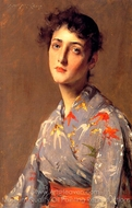 Girl in a Japanese Kimono painting reproduction, William Merritt Chase