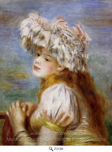 Pierre-Auguste Renoir, Girl in a Lace Hat oil painting reproduction