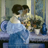 Girl in Blue Arranging Flowers painting reproduction, Frederick Carl Frieseke