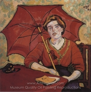 Girl in Red with a Parasol painting reproduction, Max Pechstein