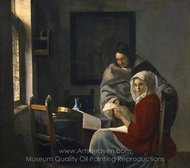 Girl Interrupted at Her Music painting reproduction, Jan Vermeer