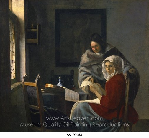 Jan Vermeer, Girl Interrupted at Her Music oil painting reproduction