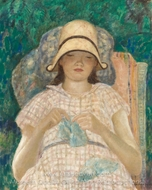 Girl Knitting painting reproduction, Frederick Carl Frieseke