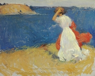 Girl on the Headland painting reproduction, Frank Weston Benson