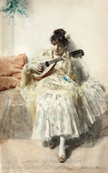 Girl Playing Mandolin painting reproduction, Anders Zorn