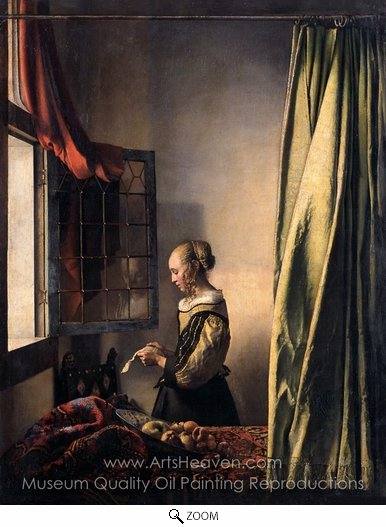 Jan Vermeer, Girl Reading a Letter at an Open Window oil painting reproduction